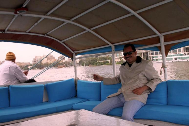 On a Fellucca ride on the Nile in downtown Cairo